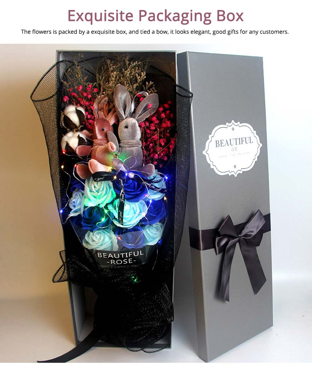 Dry Flower Rose Preservation with Flashing Light, Decorative Box and Rabbits | Valentine's Day Gift 13