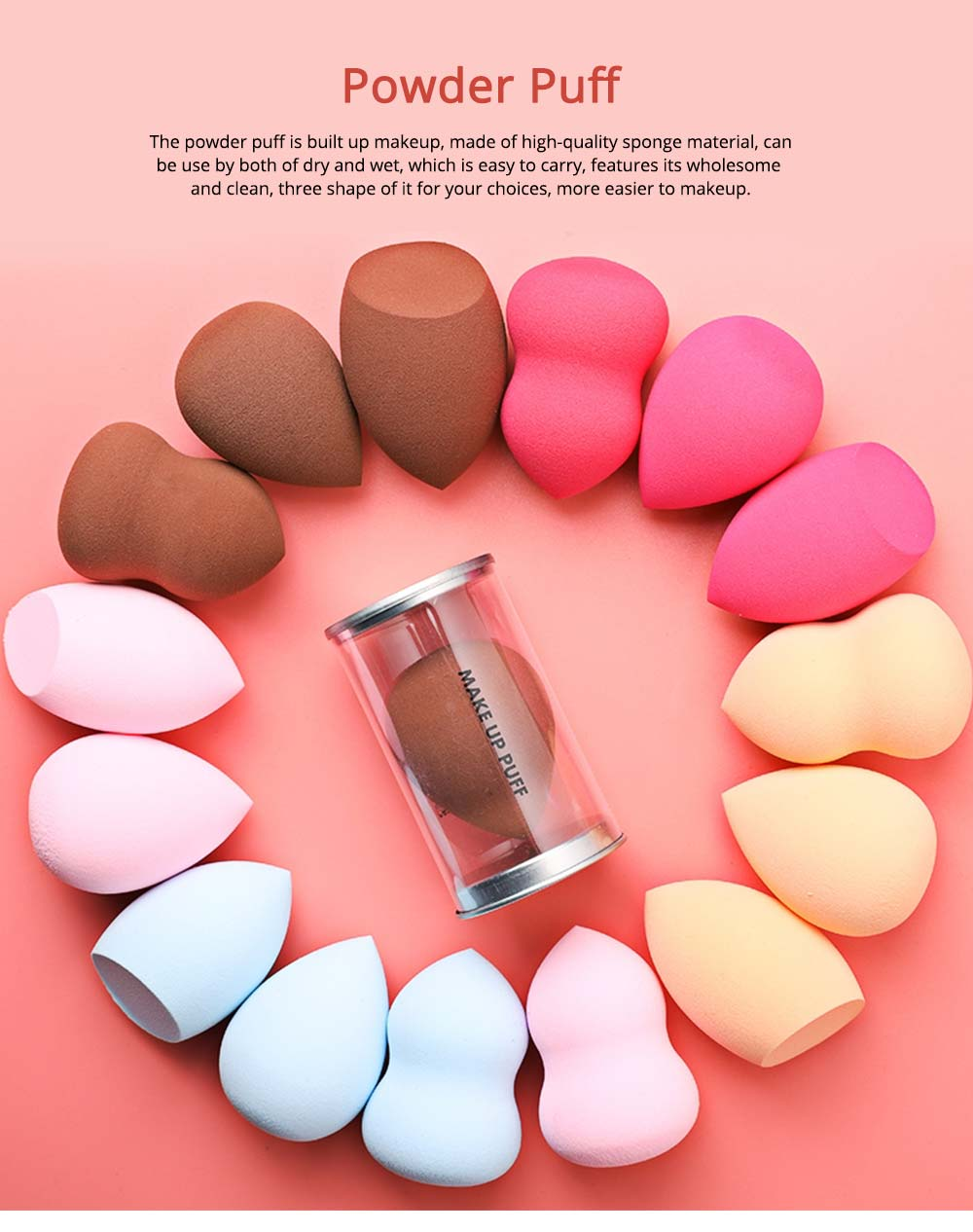 Sponge Powder Puff for Makeup, Dry Wet Beauty Blender with Gourd Powder Puff Drop Shape 0
