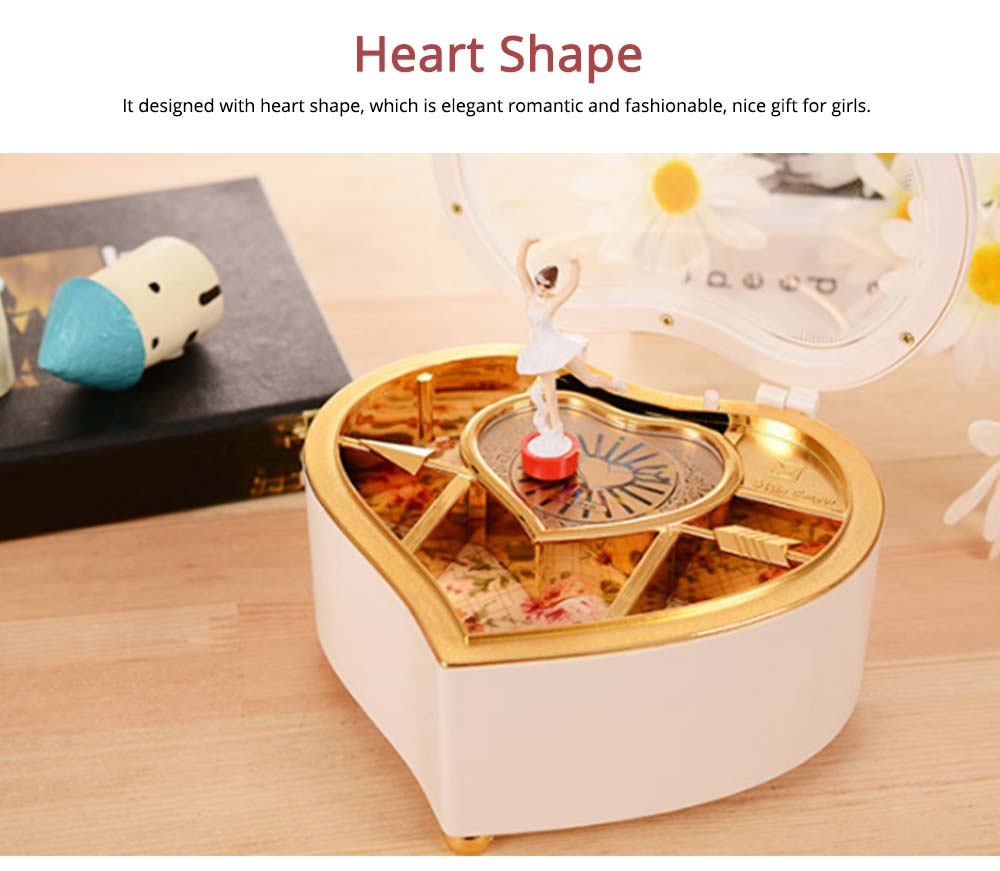 Heart Shape Music Box, Plastic Rotating Music Box for Girls, Gift for Valentine's Day, Christmas, New Year 5