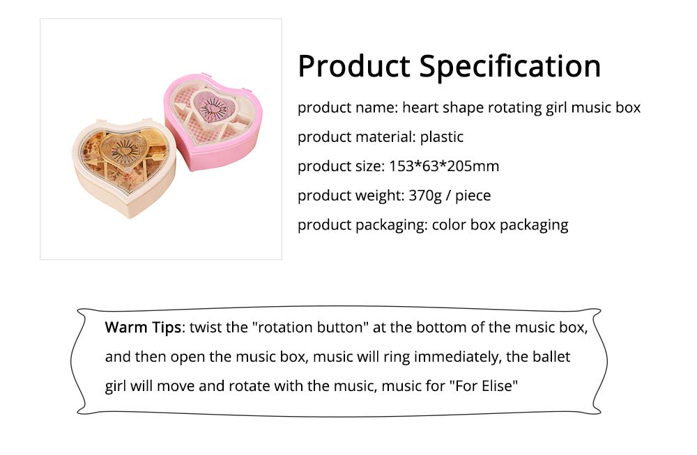 Heart Shape Music Box, Plastic Rotating Music Box for Girls, Gift for Valentine's Day, Christmas, New Year 6