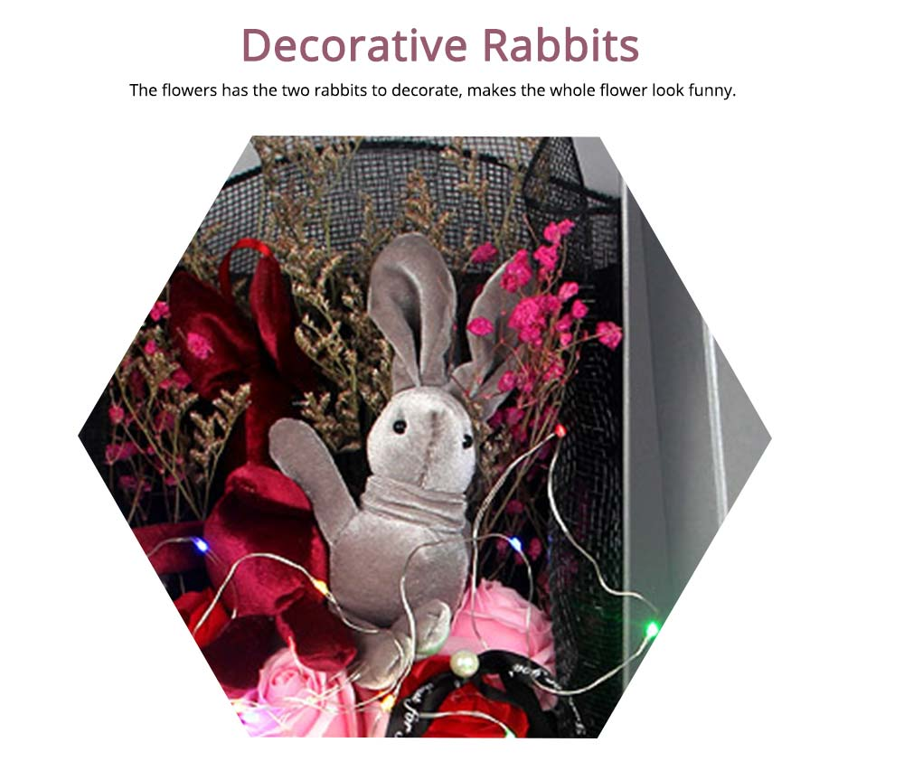 Dry Flower Rose Preservation with Flashing Light, Decorative Box and Rabbits | Valentine's Day Gift 10