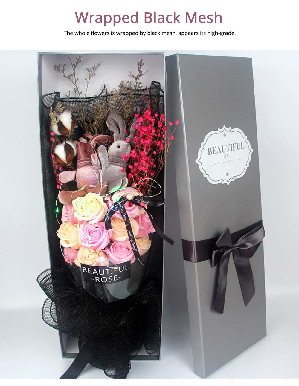 Dry Flower Rose Preservation with Flashing Light, Decorative Box and Rabbits | Valentine's Day Gift 11