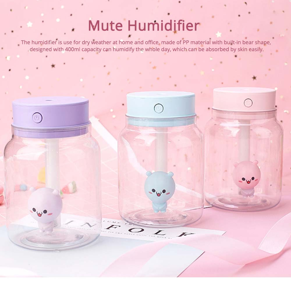 Mute Night Light Humidifier, Candy Bottle Humidifier for Office, Home, 400ML Capacity 0