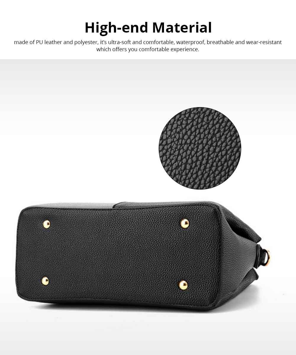 PU Leather Color-block Handbag for Ladies, Fashion Elegant Bag With Smooth Hardware Zipper, Large Capacity 1