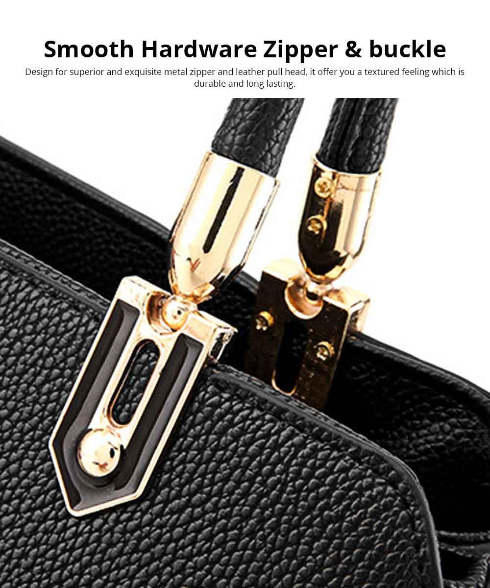 PU Leather Color-block Handbag for Ladies, Fashion Elegant Bag With Smooth Hardware Zipper, Large Capacity 2
