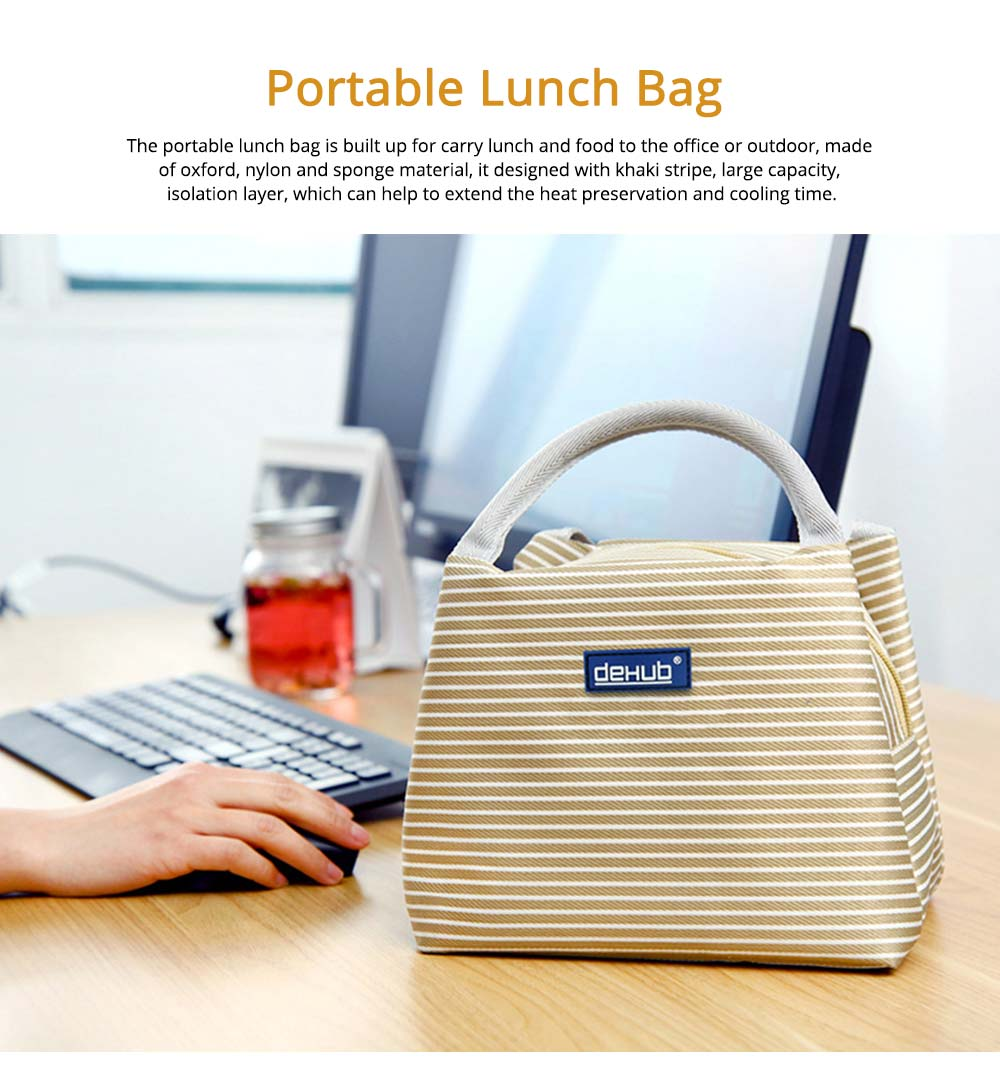 Portable Lunch Bag for Office Staff, Students, Outdoors, Small Handbag Big Capacity Insulation Lunch Bag  0
