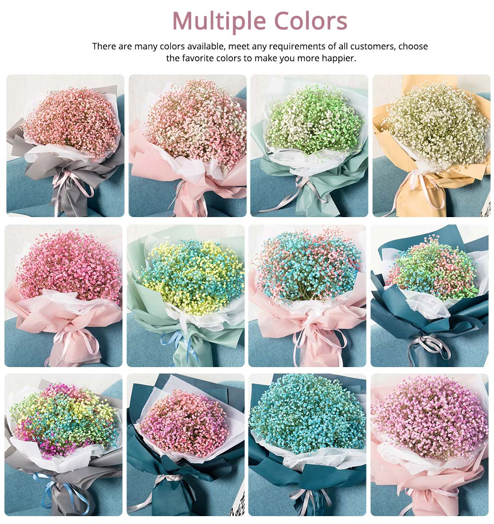 Artificial Babysbreath Flower Wedding Party Home Decor, Baby's Breath Bouquet Dried Flowers for Valentine's Day Gift 4