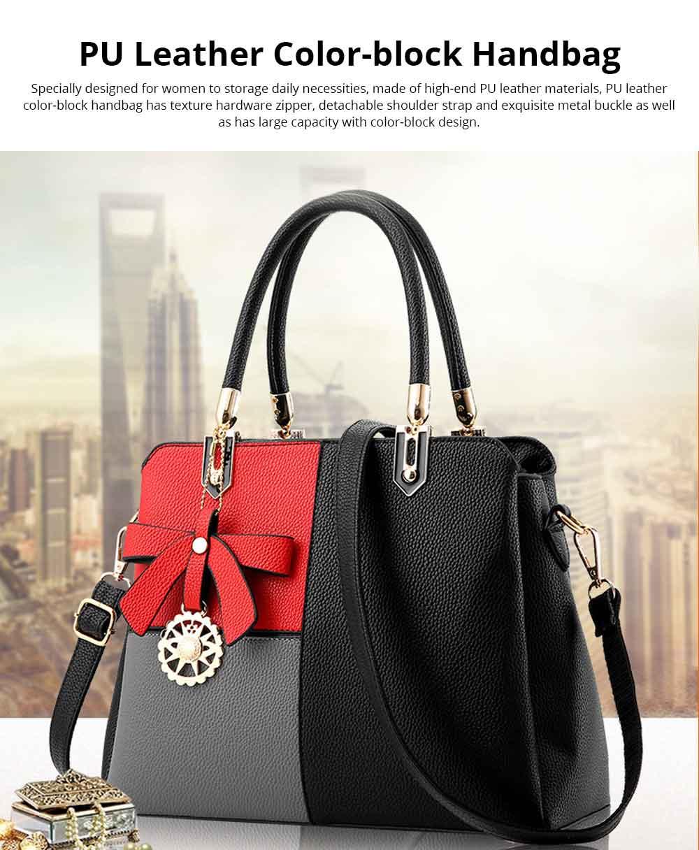 PU Leather Color-block Handbag for Ladies, Fashion Elegant Bag With Smooth Hardware Zipper, Large Capacity 0