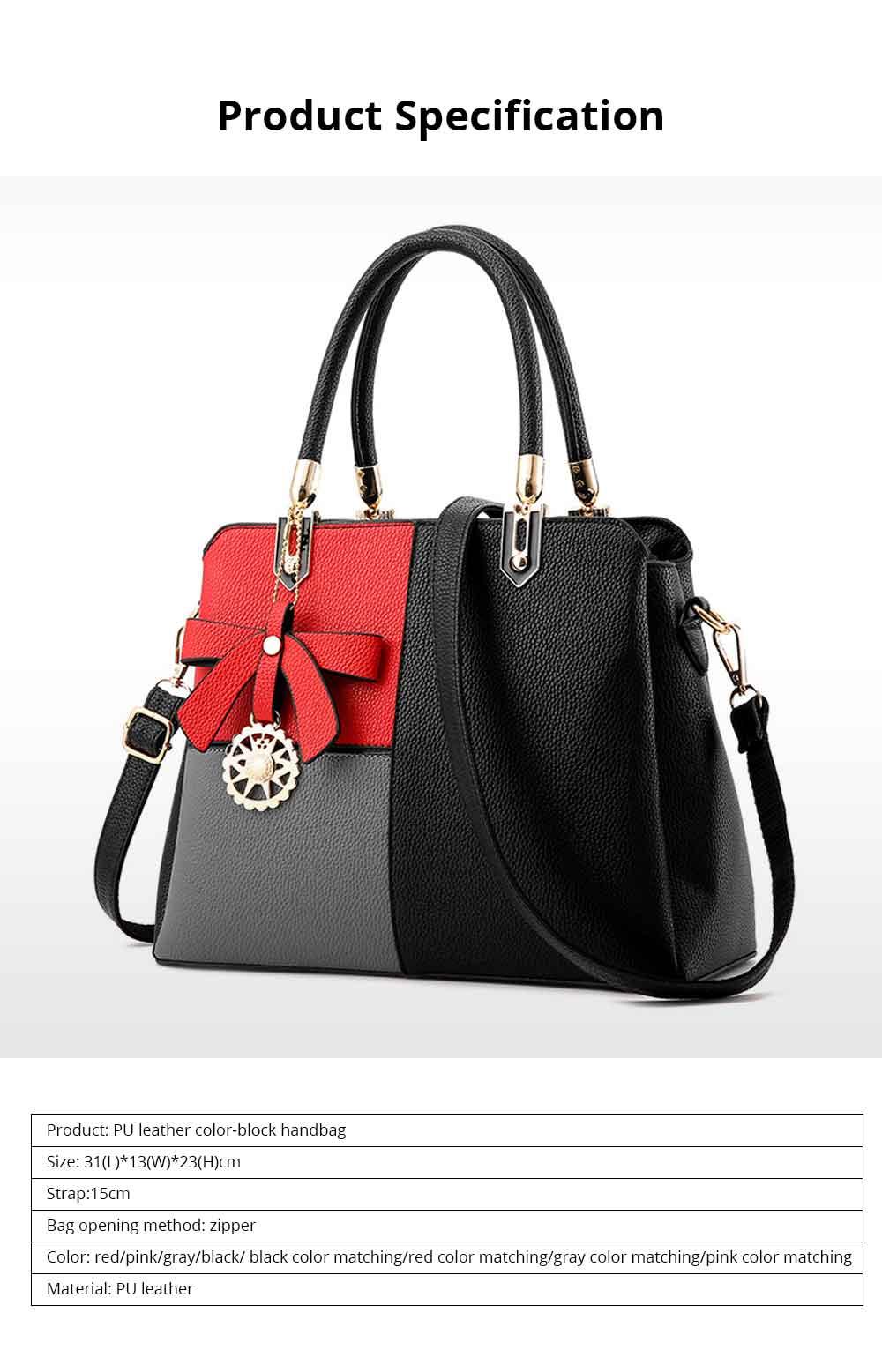 PU Leather Color-block Handbag for Ladies, Fashion Elegant Bag With Smooth Hardware Zipper, Large Capacity 6