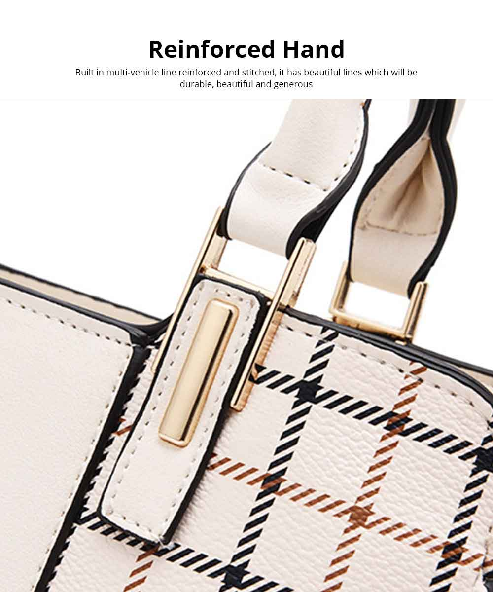 Plaid Handbag With Detachable Shoulder Strap And Exquisite Metal Buckle, Fashion Elegant PU Leather Bag for Mother 7