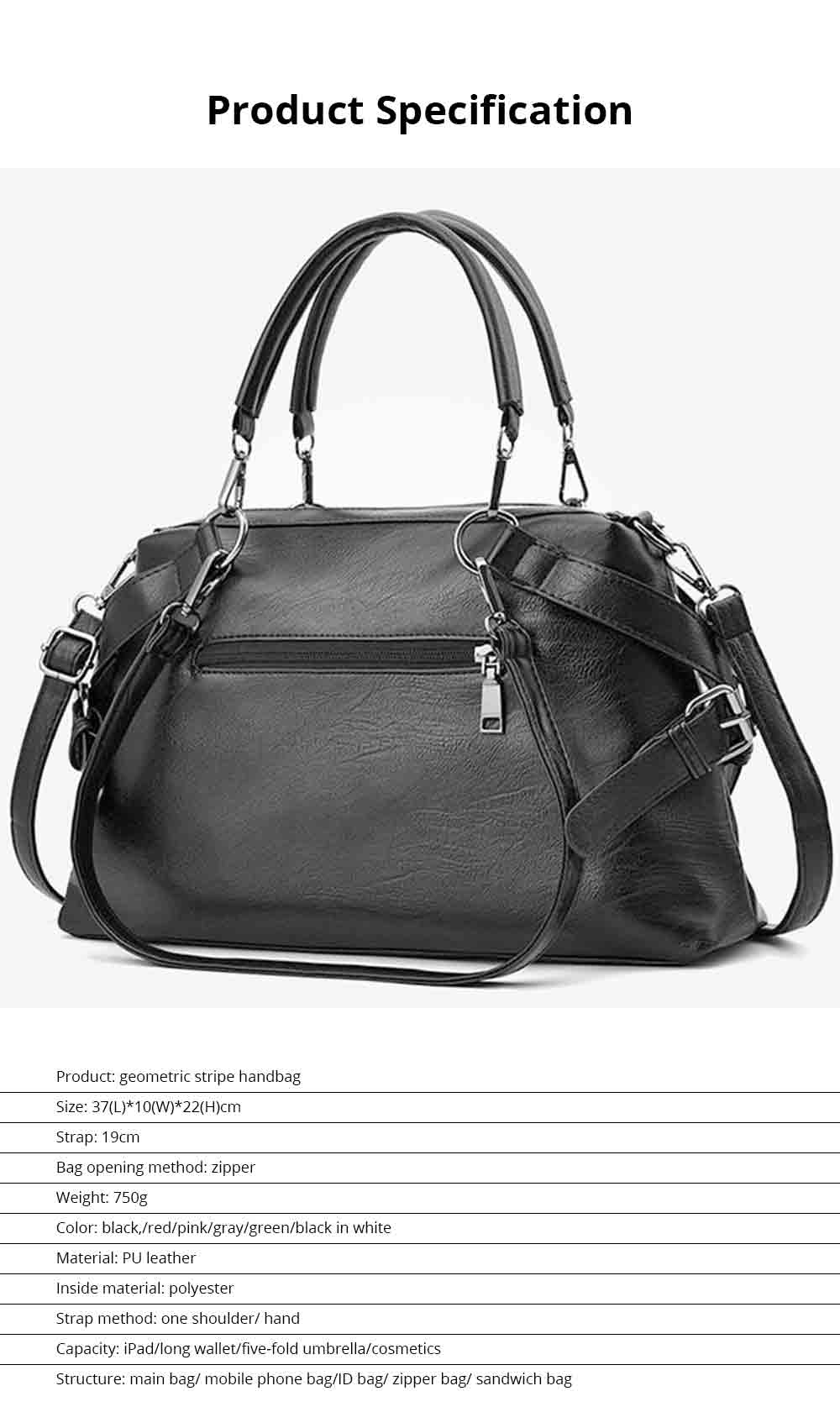 Geometric Stripe Handbag With Detachable Shoulder Strap And Large Capacity, Fashion Elegant PU Leather Bag for Ladies 7
