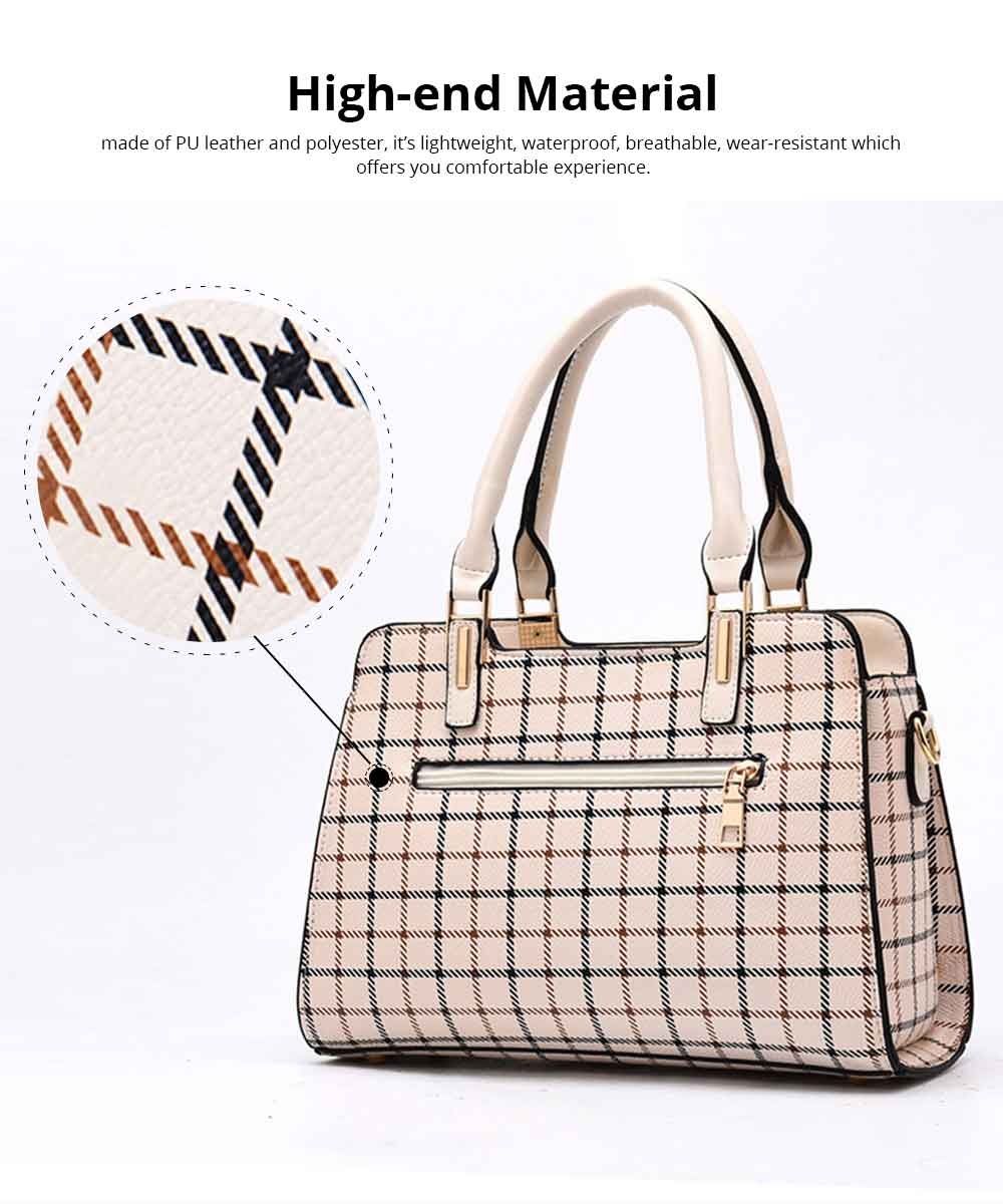 Plaid Handbag With Detachable Shoulder Strap And Exquisite Metal Buckle, Fashion Elegant PU Leather Bag for Mother 1