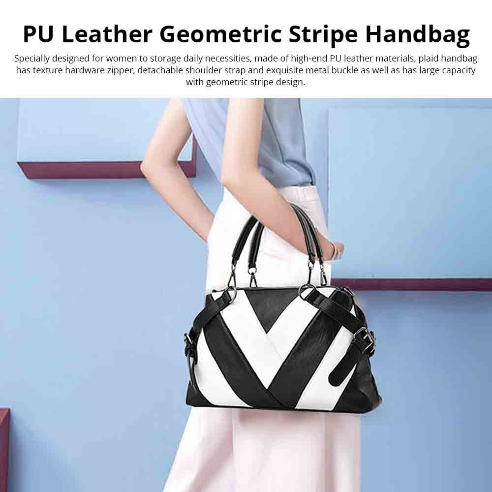 Geometric Stripe Handbag With Detachable Shoulder Strap And Large Capacity, Fashion Elegant PU Leather Bag for Ladies 0