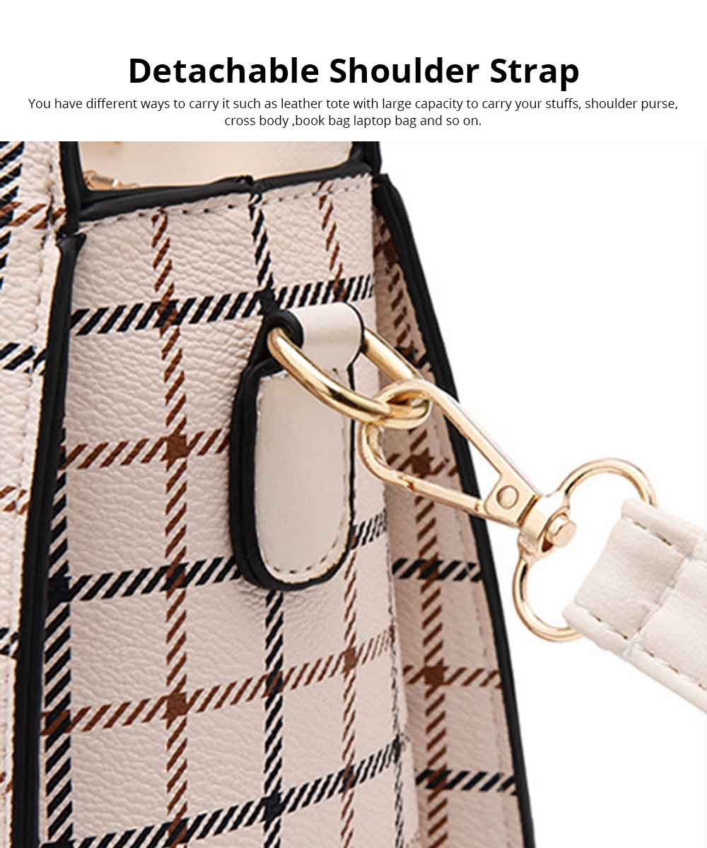 Plaid Handbag With Detachable Shoulder Strap And Exquisite Metal Buckle, Fashion Elegant PU Leather Bag for Mother 6