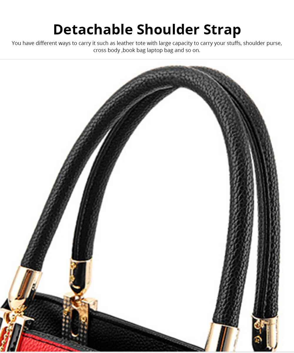 PU Leather Color-block Handbag for Ladies, Fashion Elegant Bag With Smooth Hardware Zipper, Large Capacity 11