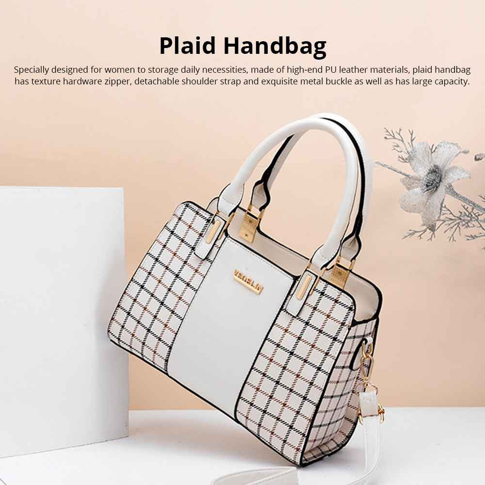 Plaid Handbag With Detachable Shoulder Strap And Exquisite Metal Buckle, Fashion Elegant PU Leather Bag for Mother 0