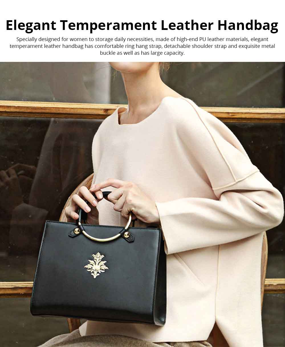 Leather Handbag With Comfortable Ring Hand Strap, Elegant Temperament Simple Shoulder Bag for Women 0