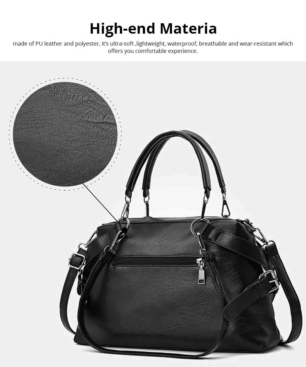 Geometric Stripe Handbag With Detachable Shoulder Strap And Large Capacity, Fashion Elegant PU Leather Bag for Ladies 1