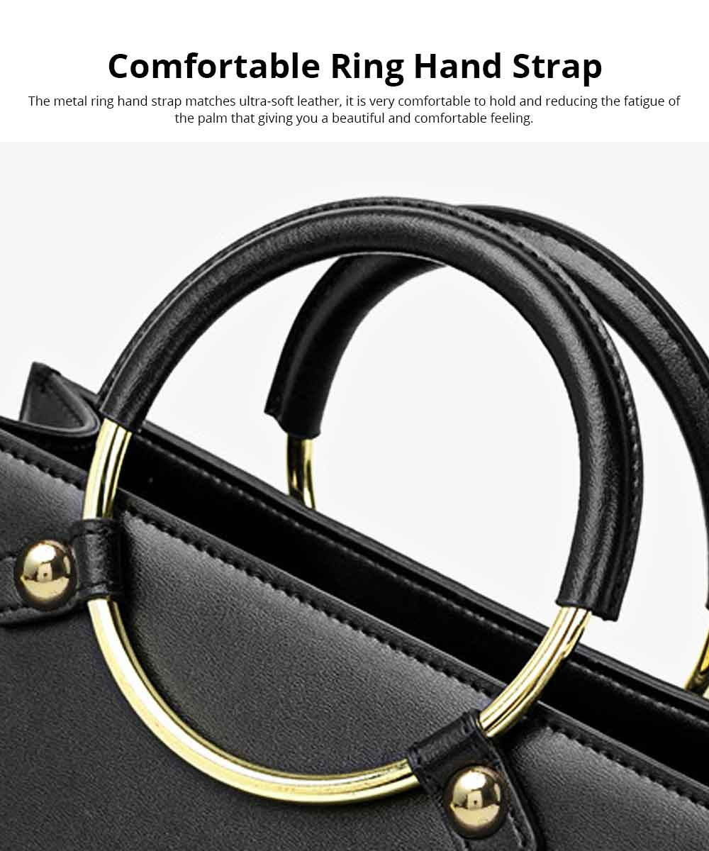 Leather Handbag With Comfortable Ring Hand Strap, Elegant Temperament Simple Shoulder Bag for Women 3