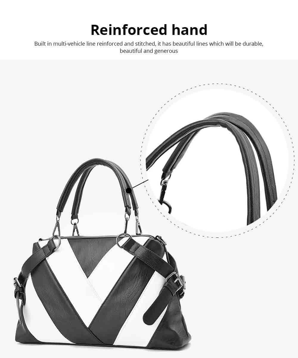 Geometric Stripe Handbag With Detachable Shoulder Strap And Large Capacity, Fashion Elegant PU Leather Bag for Ladies 6
