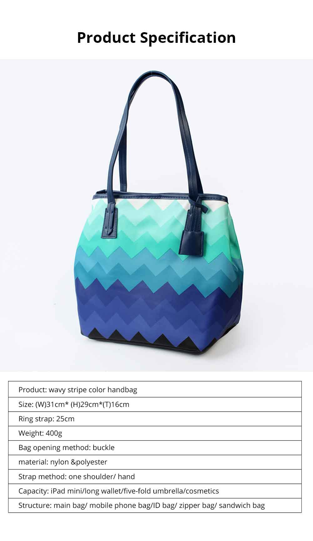Wavy Stripe Color Handbag With Multifunctional Internal, Fashion Scratchproof Wear-resistant Handbag For Beauty Girl And Ladies 6
