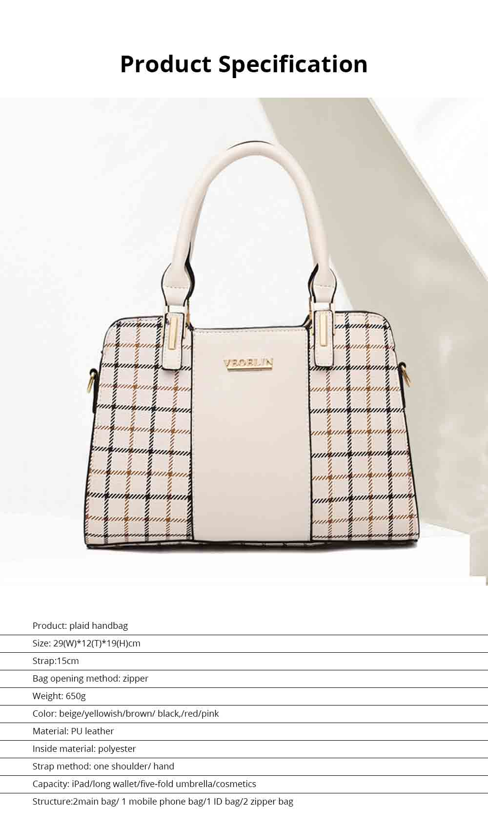 Plaid Handbag With Detachable Shoulder Strap And Exquisite Metal Buckle, Fashion Elegant PU Leather Bag for Mother 8