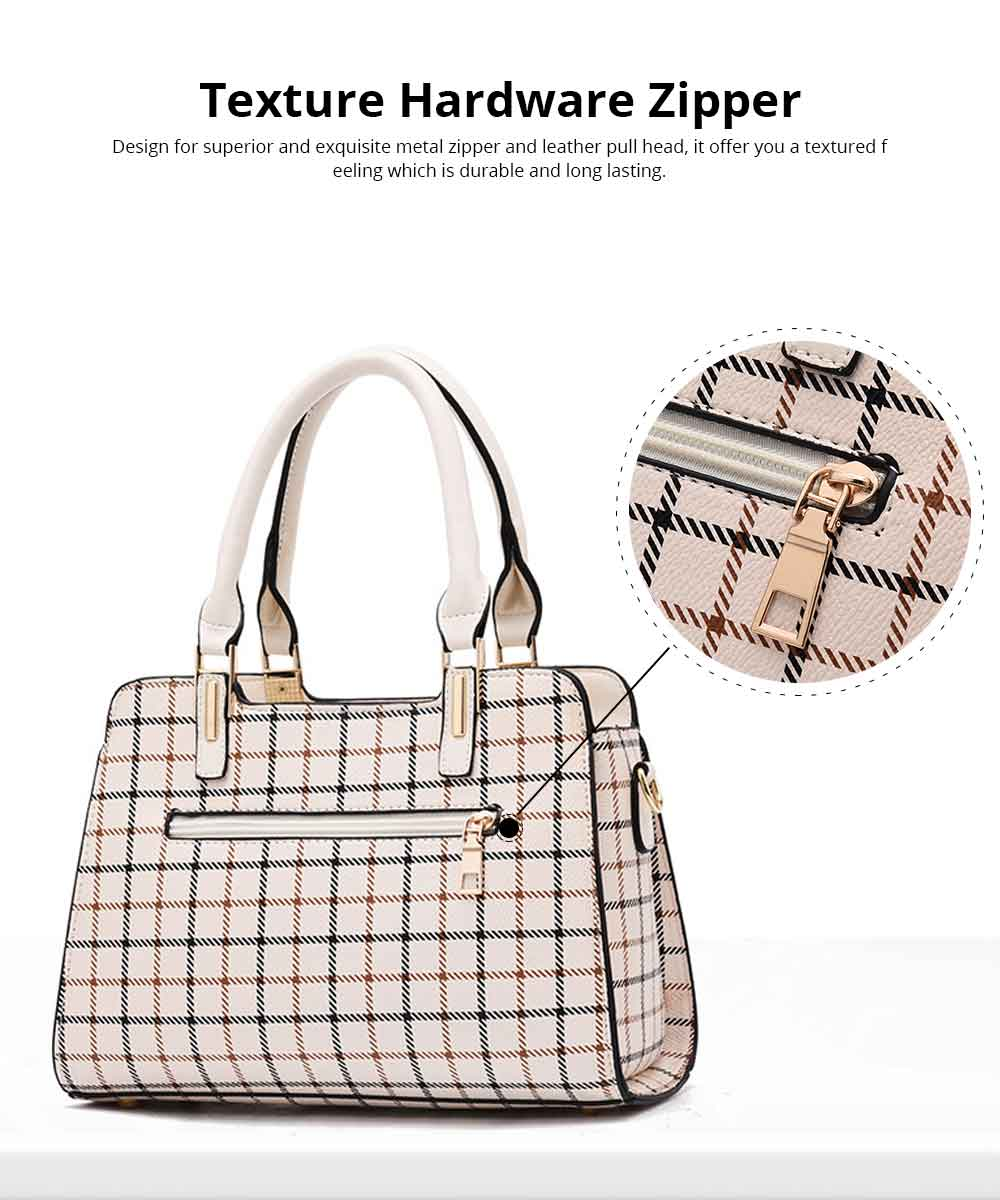 Plaid Handbag With Detachable Shoulder Strap And Exquisite Metal Buckle, Fashion Elegant PU Leather Bag for Mother 3