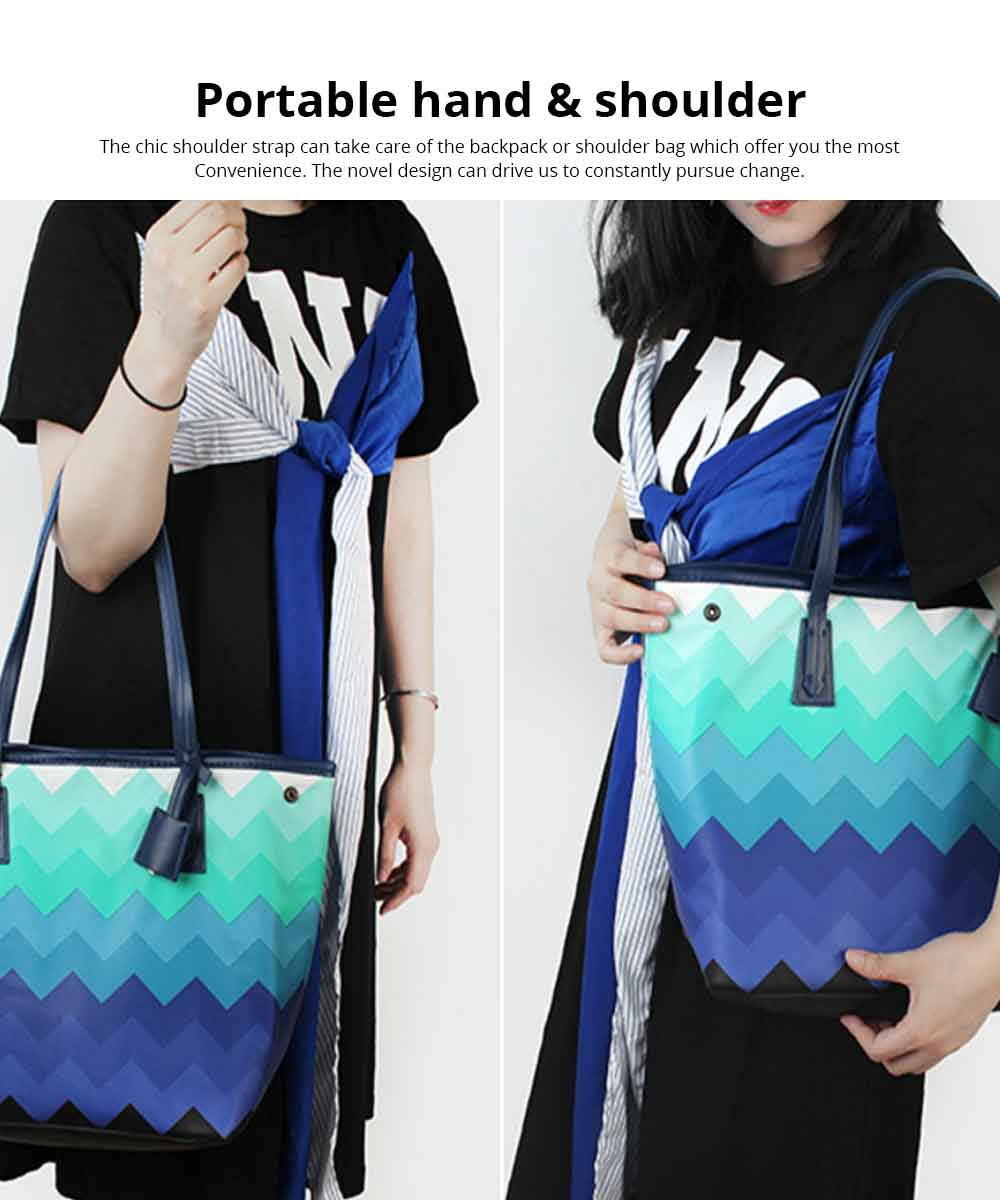 Wavy Stripe Color Handbag With Multifunctional Internal, Fashion Scratchproof Wear-resistant Handbag For Beauty Girl And Ladies 2