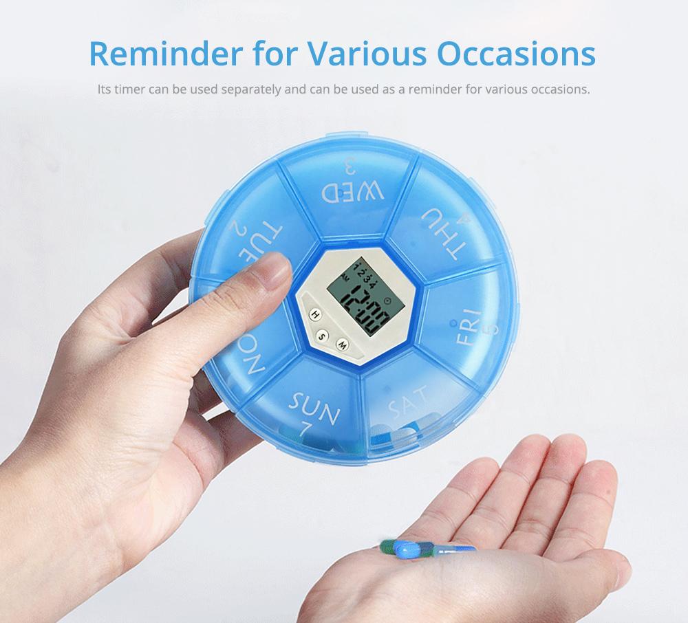 Electronic Pill Box Timer Reminder, Night Lighting Reminder 7-divided Pill Case Kit 15