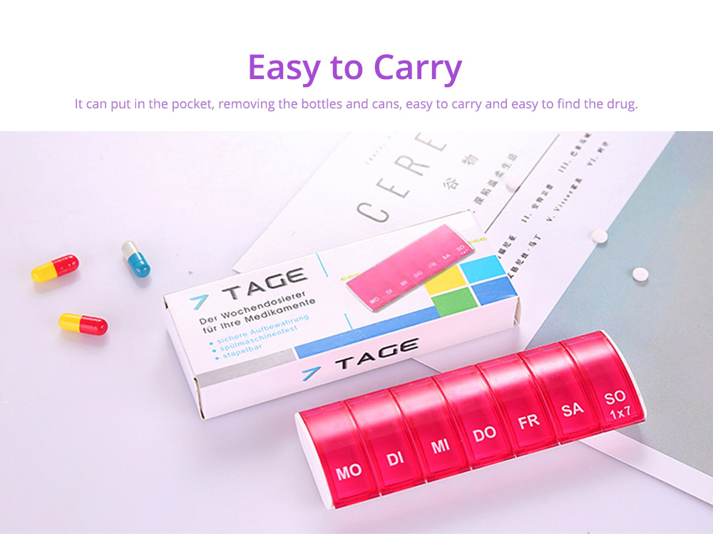 Mini Portable Pill Storage Kit, Rectangular Seven-cell, Plastic Storage Box for Capsule, Candy, Jewelry, Gadgets 19