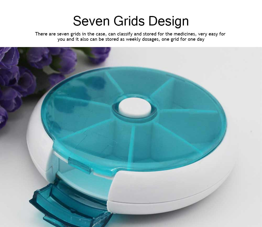 Travel Pill Medicine Box Organizers, 7-Grids Mini Rotate Splitter Boxes 1