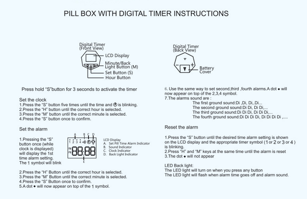 Electronic Pill Box Timer Reminder Night Lighting Reminder 7-divided Pill Case Kit 8