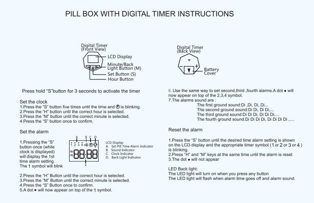 Electronic Pill Box Timer Reminder, Night Lighting Reminder 7-divided Pill Case Kit 17