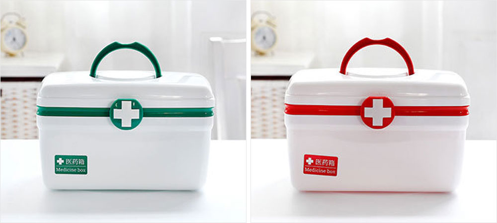 Empty First Aid Kit, Portable Medicine Storage Box, Plastic Double-layer Emergency Medicine Kit 20