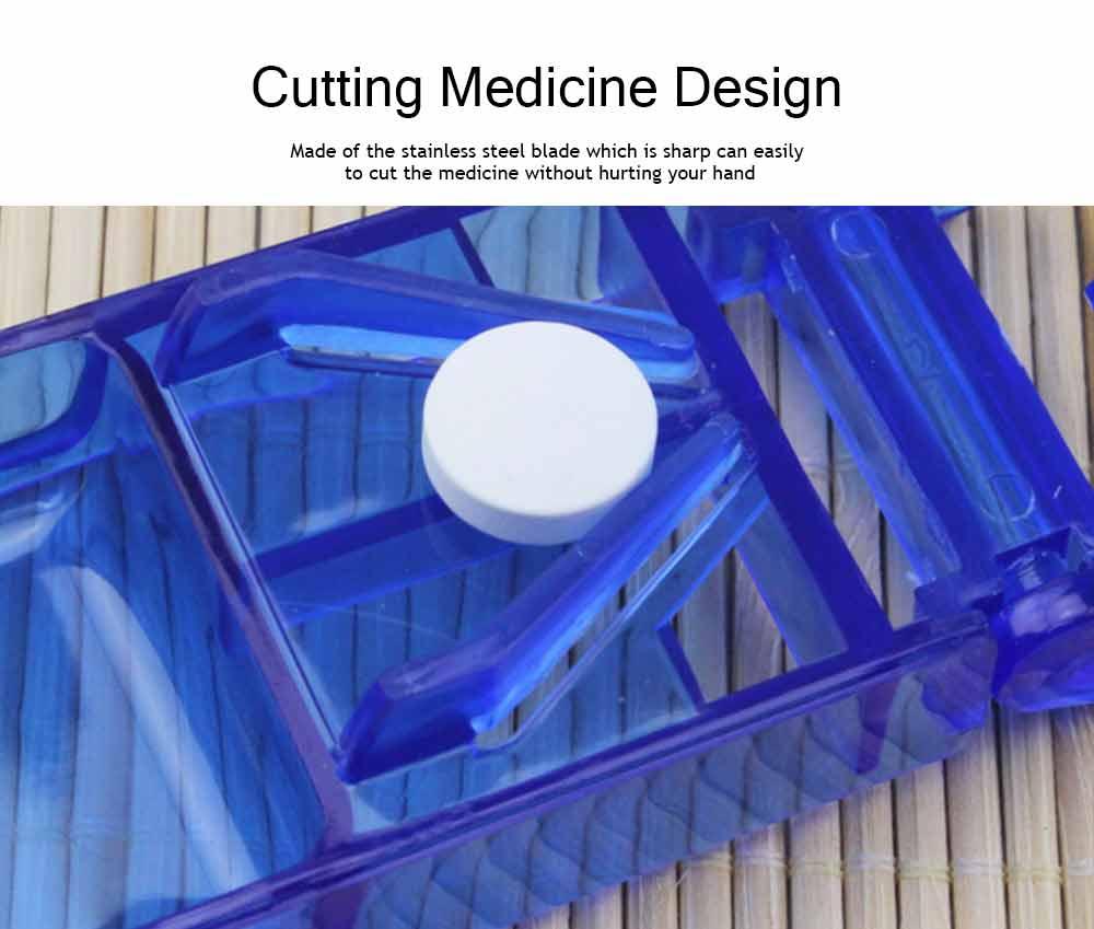 Tablet Cutter Splitter, Portable Translucent Pill Cutter Storage Box Medicine Pill Holder 9