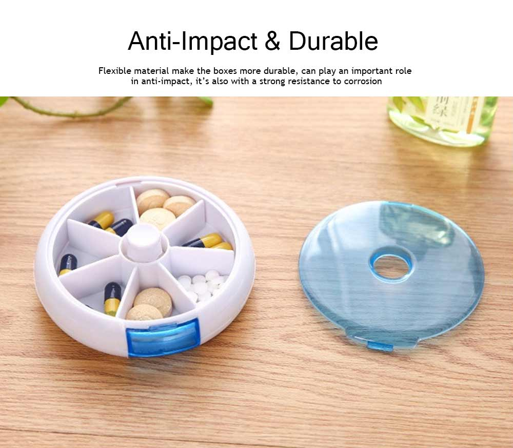 Travel Tablet Pill Box 7 Day, Weekly Medicine Case Dustproof Mini Rotate Round Pill Cases 2