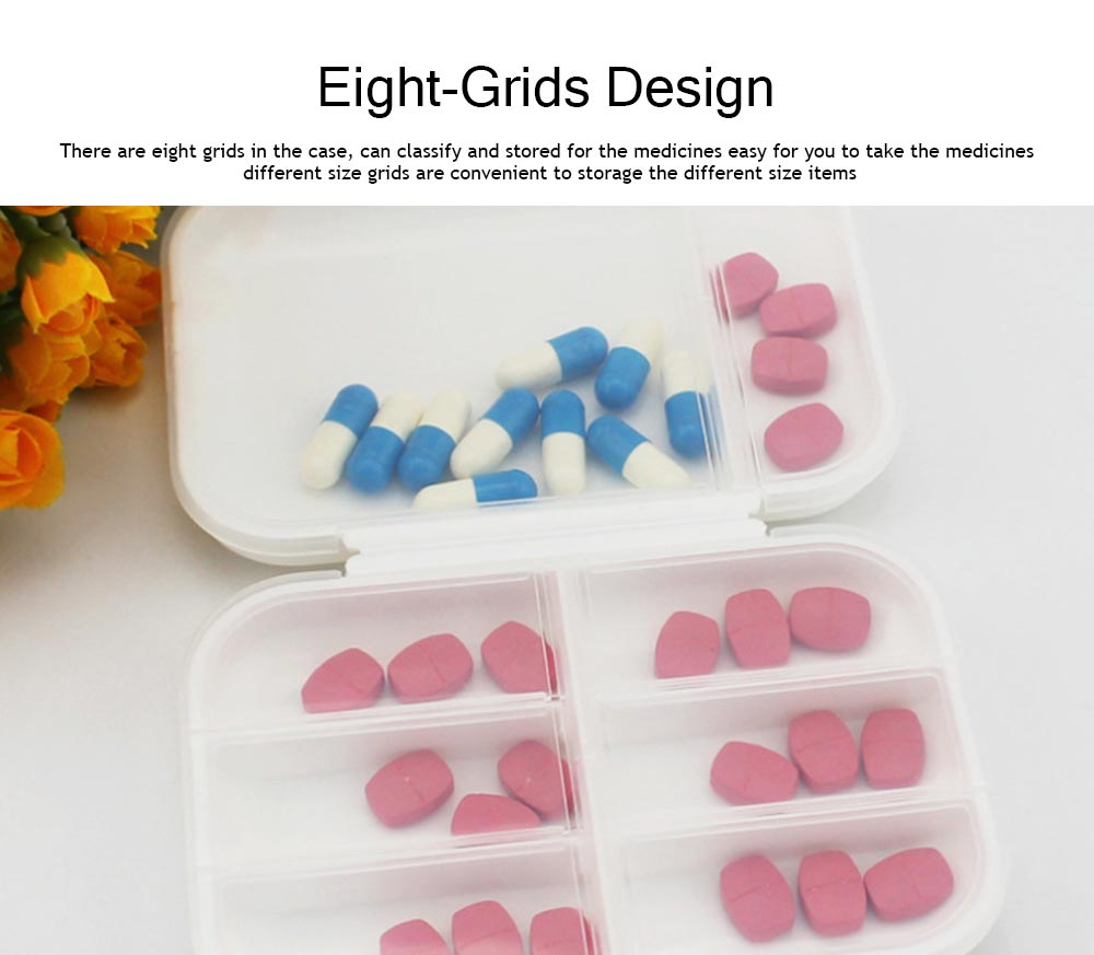 Dustproof Medicines Storage Boxes with Cross Labels, Portable 8 Grids Weekly Tablets Pill Case 2