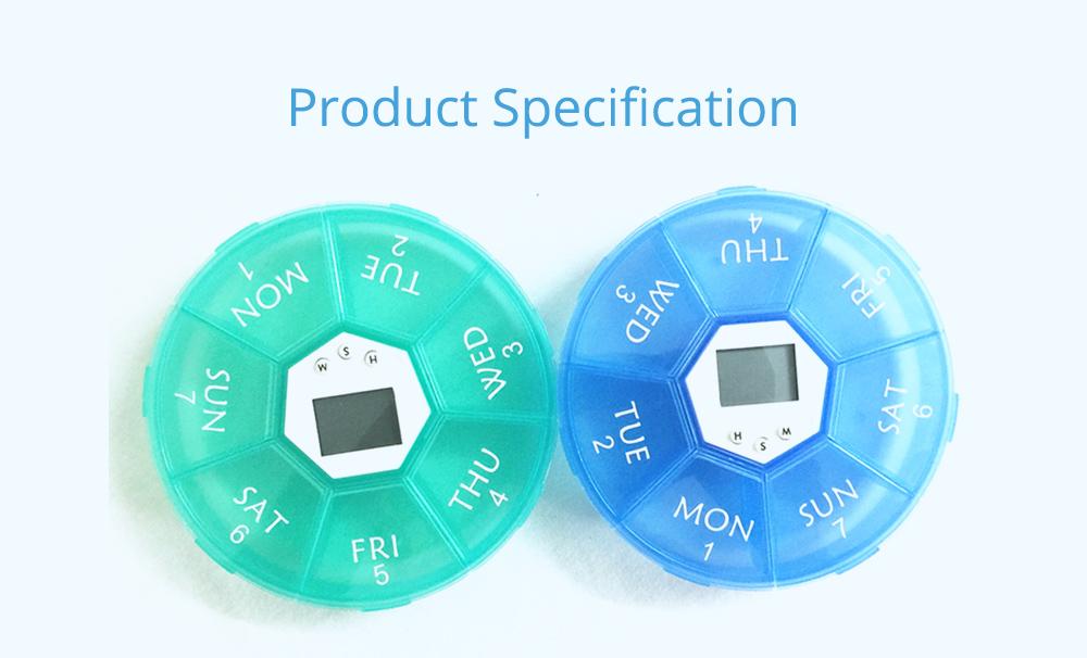 Electronic Pill Box Timer Reminder, Night Lighting Reminder 7-divided Pill Case Kit 16