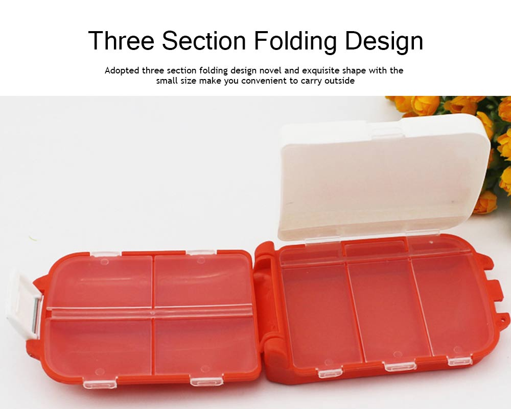 Foldable Folca Pill Box, 8-Grids Travel Tablet Pill Case, Dustproof Capsule Pill Storage Box 5