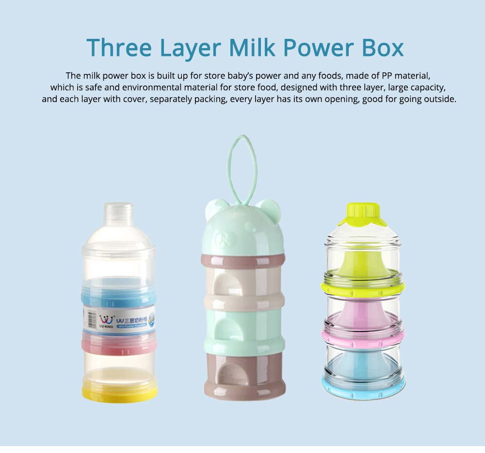 Three Layer Milk Power Box, PP Material Storage Container, Separable Food Dispenser 0
