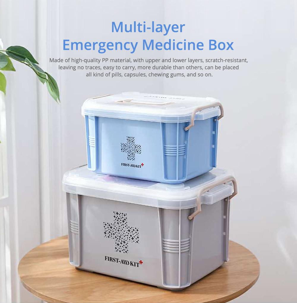 Portable Medicine Storage Case, Multi-layer Emergency Medicine Box for Home, Office, Dormitory Essentials 0