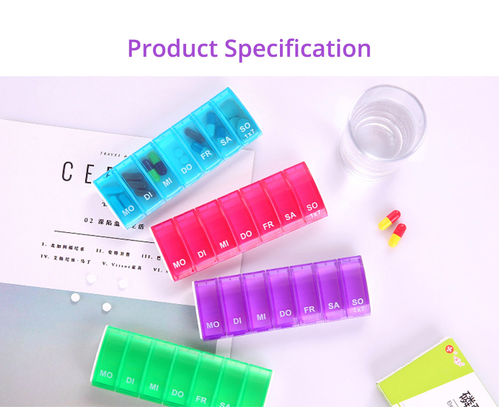 Mini Portable Pill Storage Kit, Rectangular Seven-cell, Plastic Storage Box for Capsule, Candy, Jewelry, Gadgets 21