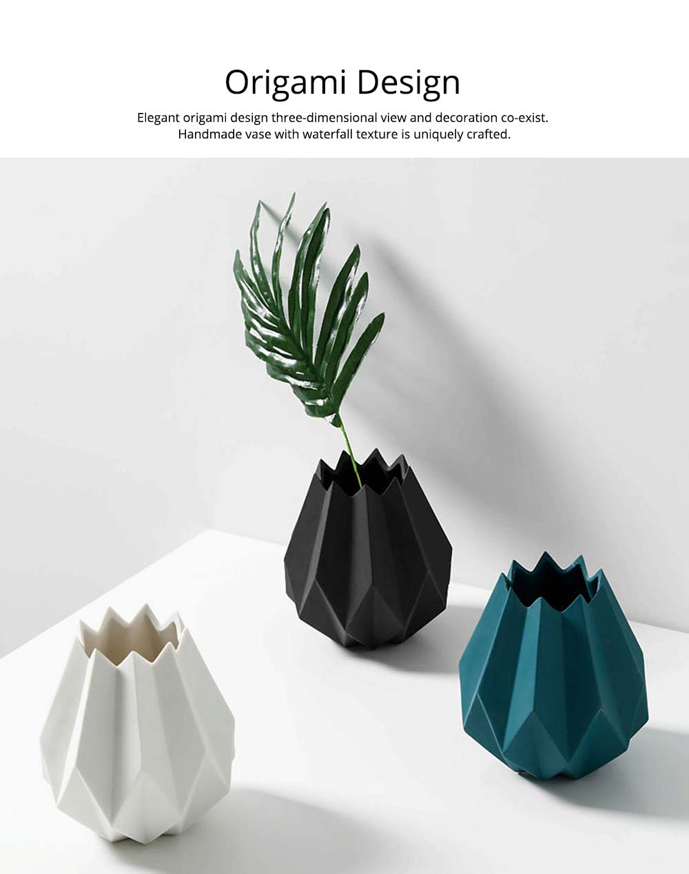 Creative Origami Vase, Ceramic Small Planter Pot, Home Office Desktop Vase Decor 1