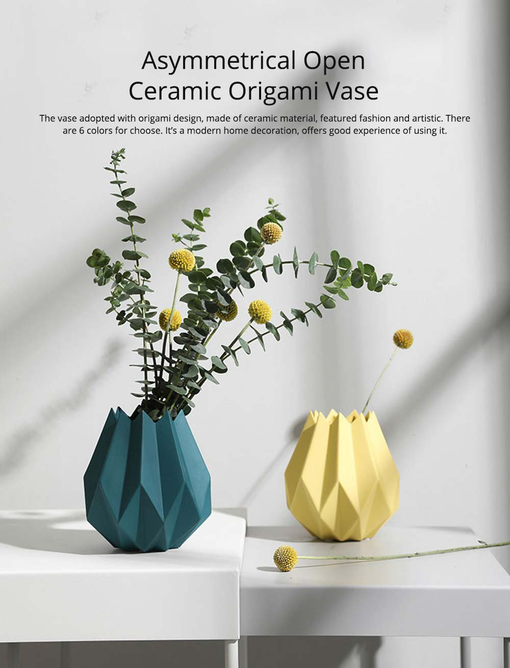 Creative Origami Vase, Ceramic Small Planter Pot, Home Office Desktop Vase Decor 0