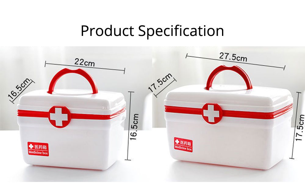 Empty First Aid Kit, Portable Medicine Storage Box, Plastic Double-layer Emergency Medicine Kit 19