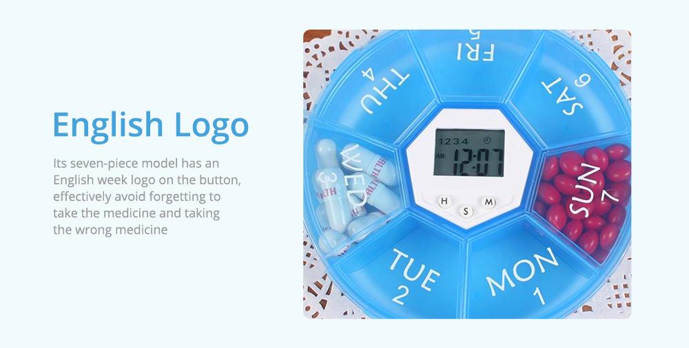 Electronic Pill Box Timer Reminder, Night Lighting Reminder 7-divided Pill Case Kit 10