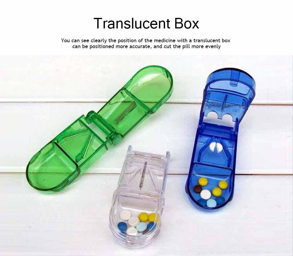 Tablet Cutter Splitter, Portable Translucent Pill Cutter Storage Box Medicine Pill Holder 8