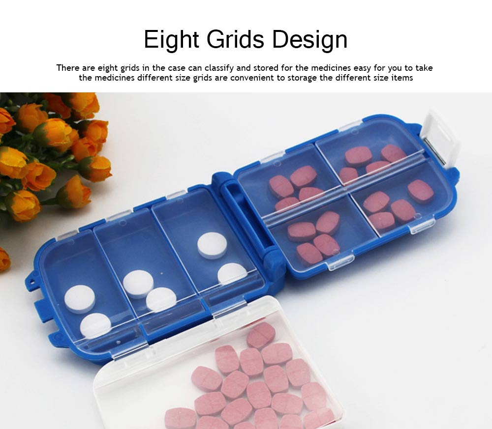 Foldable Folca Pill Box, 8-Grids Travel Tablet Pill Case, Dustproof Capsule Pill Storage Box 2