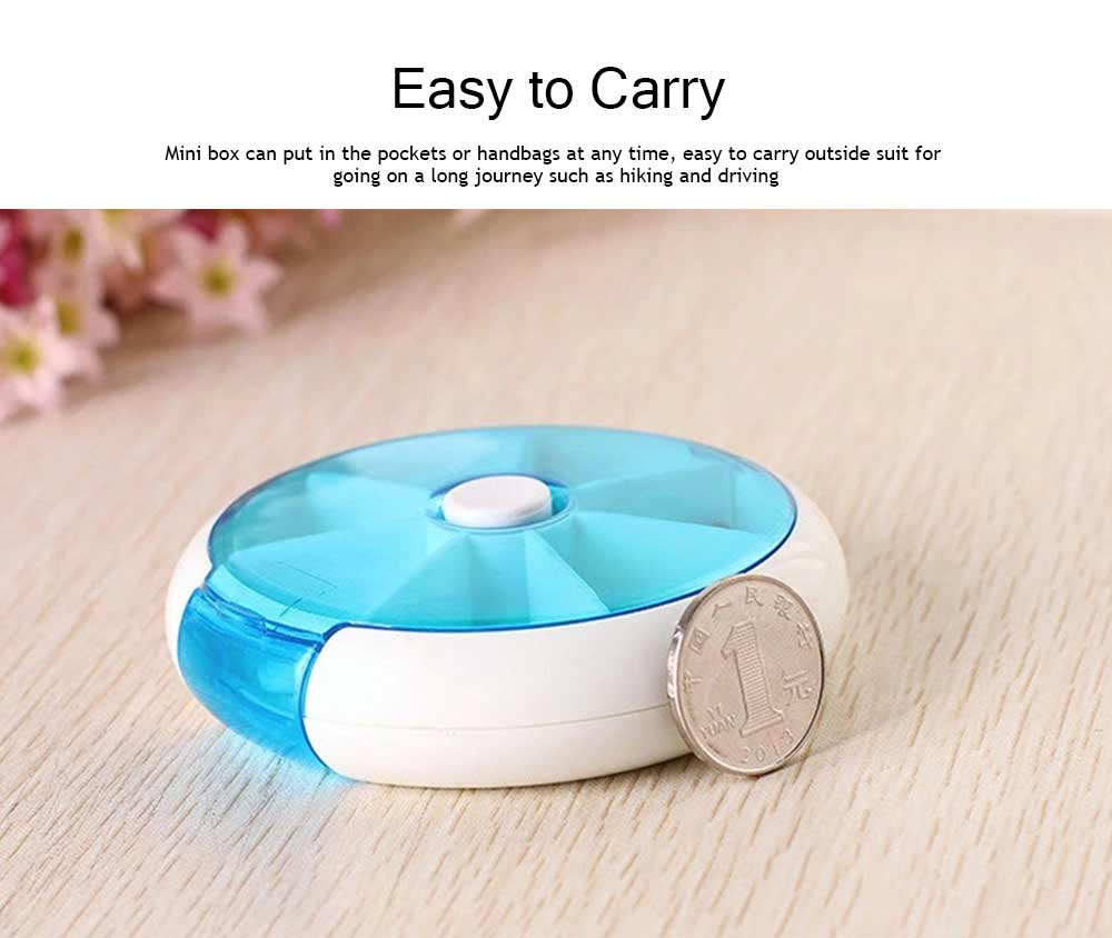Travel Tablet Pill Box 7 Day, Weekly Medicine Case Dustproof Mini Rotate Round Pill Cases 5