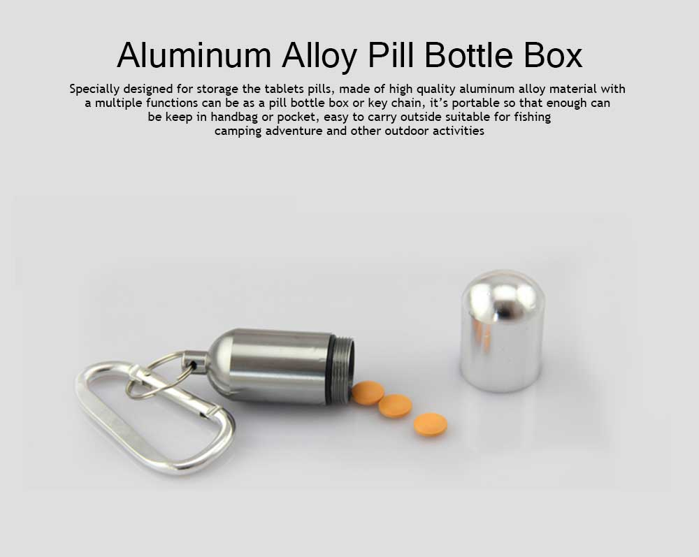 Tablet Storage Bottle with Key Chain, Waterproof Medicine Holder, Aluminum Alloy Mini Medicine Box Sealed Case 6